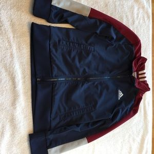 Adidas size 8 Small blue maroon zip front jacket